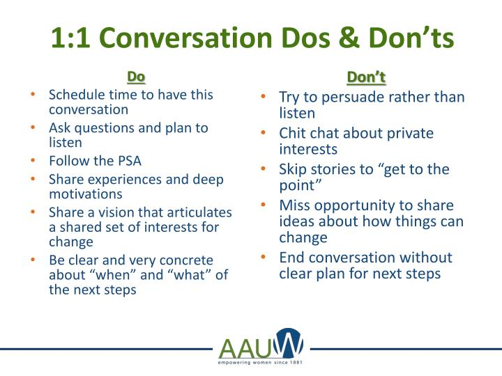1:1 Conversation Dos & Don'ts
