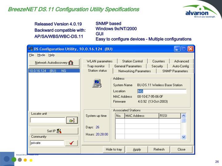 BreezeNET DS.11 Configuration Utility Specifications