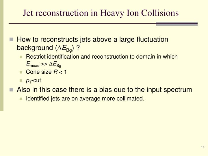 Jet reconstruction in Heavy Ion Collisions