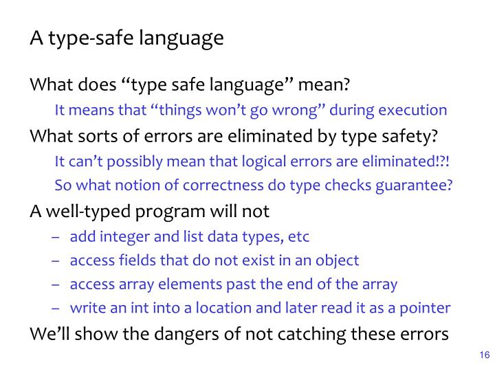 A type-safe language