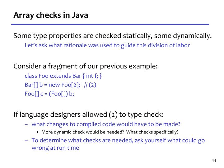 Array checks in Java