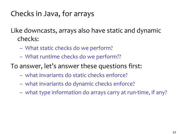 Checks in Java, for arrays