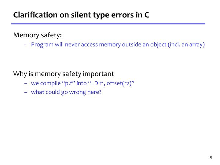 Clarification on silent type errors in C