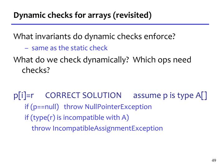 Dynamic checks for arrays (revisited)