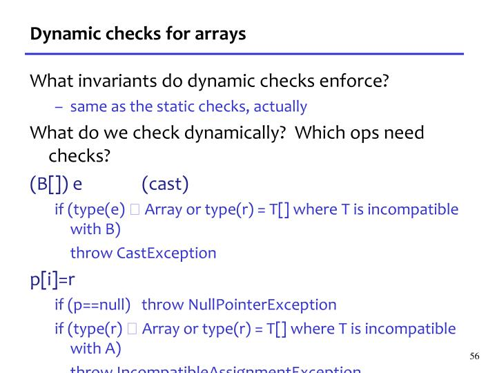 Dynamic checks for arrays