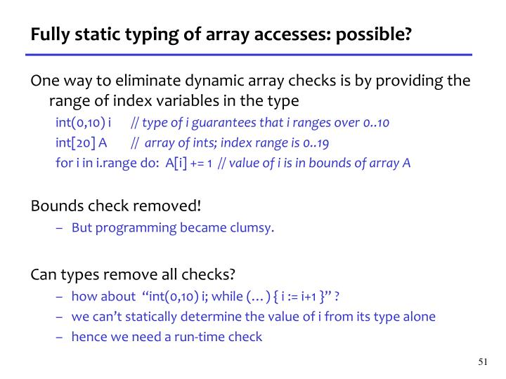 Fully static typing of array accesses: possible?
