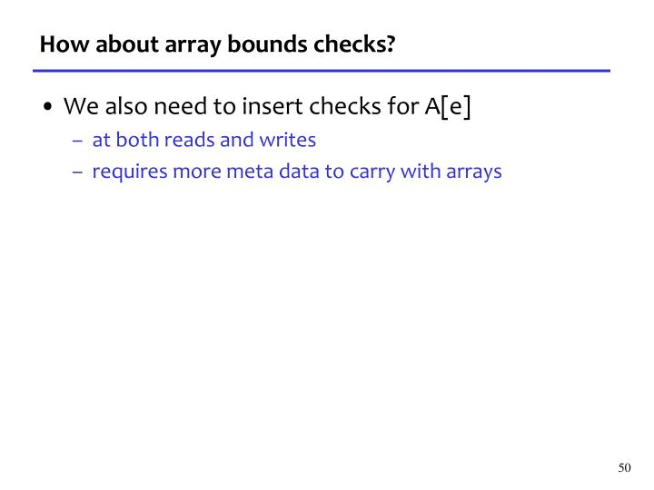 How about array bounds checks?