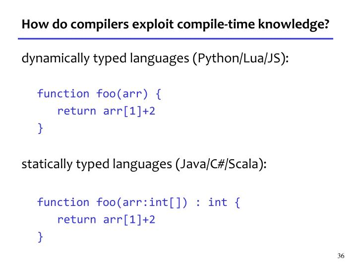 How do compilers exploit compile-time knowledge?