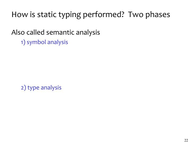 How is static typing performed?  Two phases