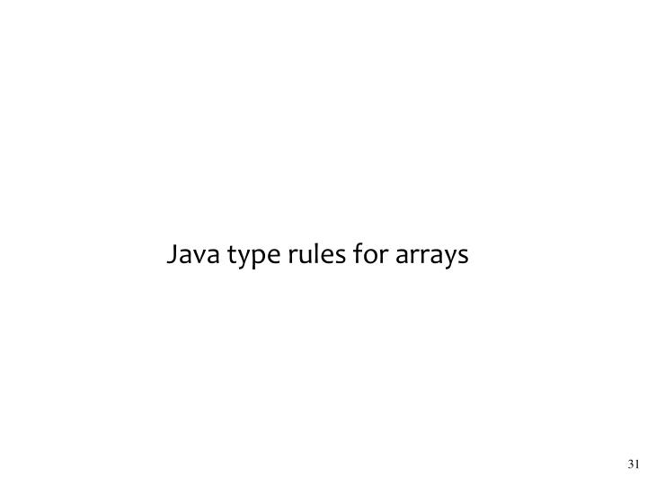 Java type rules for arrays