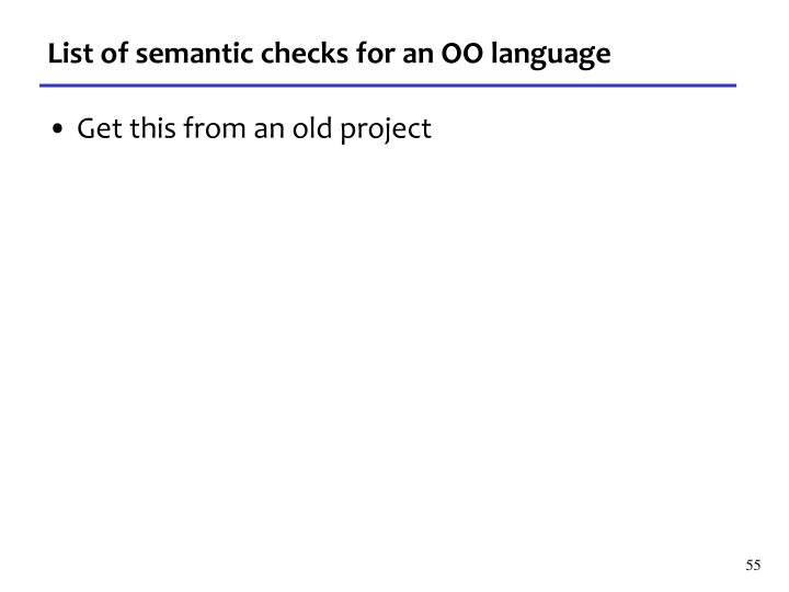 List of semantic checks for an OO language
