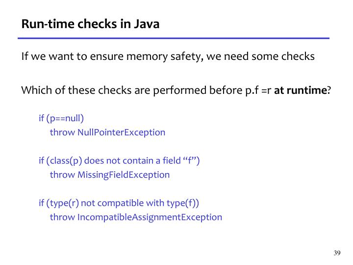 Run-time checks in Java