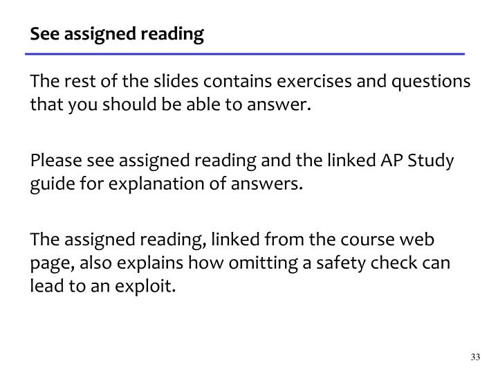 See assigned reading