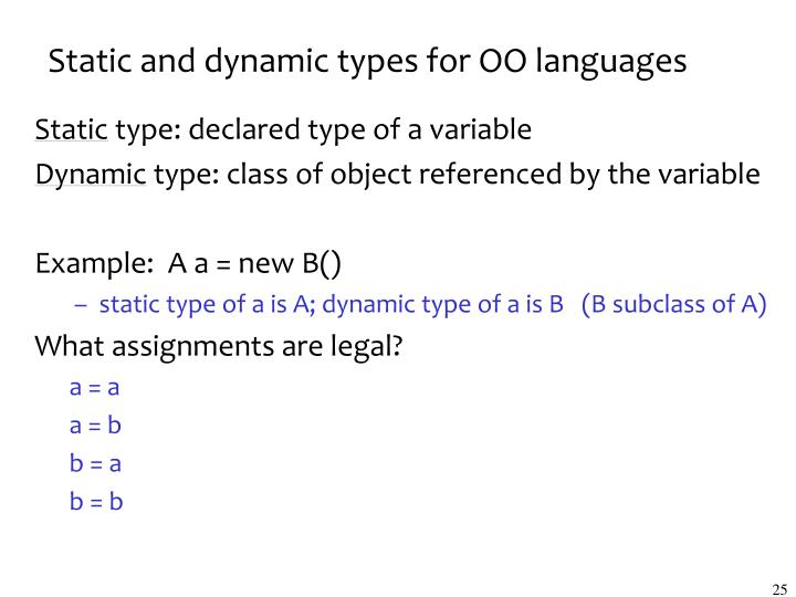 Static and dynamic types for OO languages