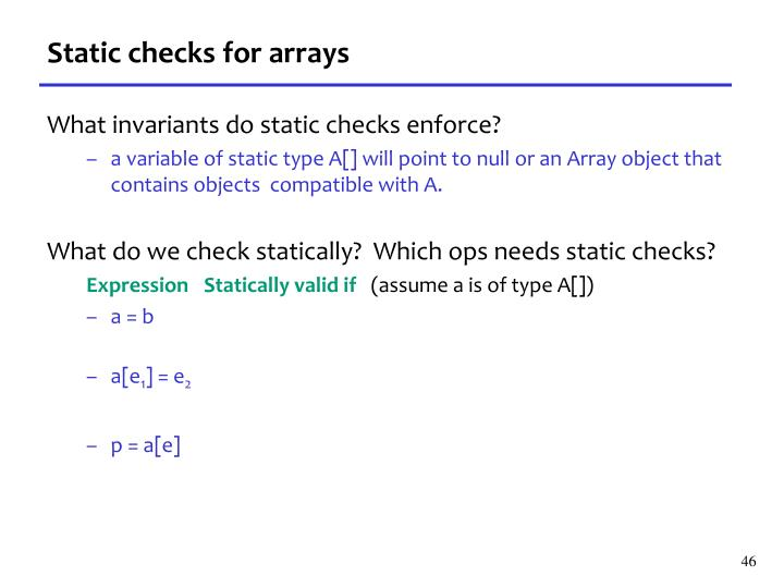 Static checks for arrays