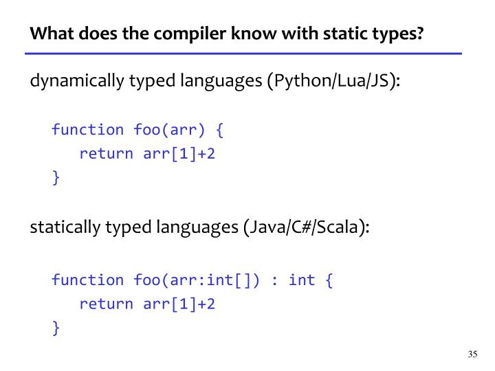 What does the compiler know with static types?