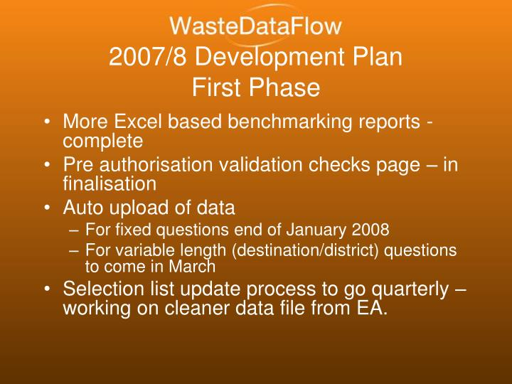 2007/8 Development Plan