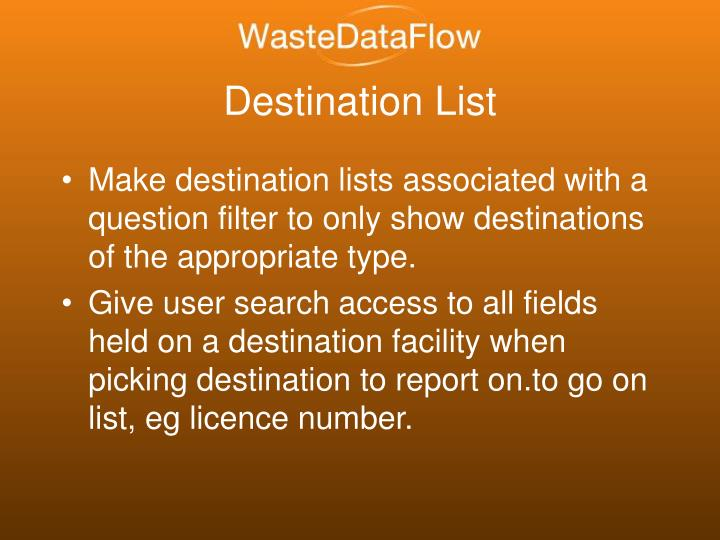Destination List