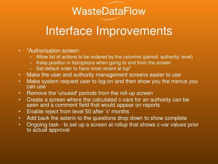 Interface Improvements