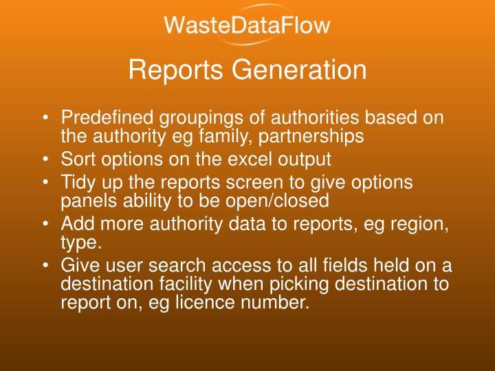 Reports Generation
