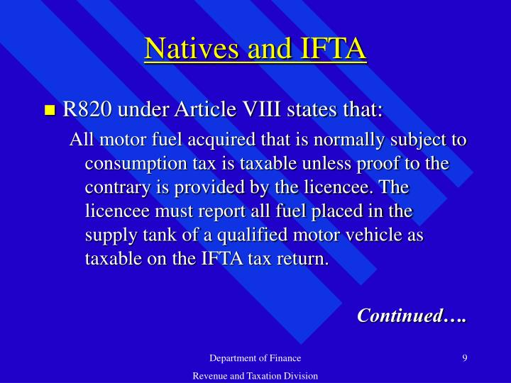 Natives and IFTA