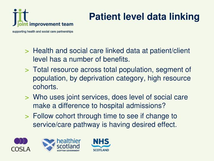 Patient level data linking