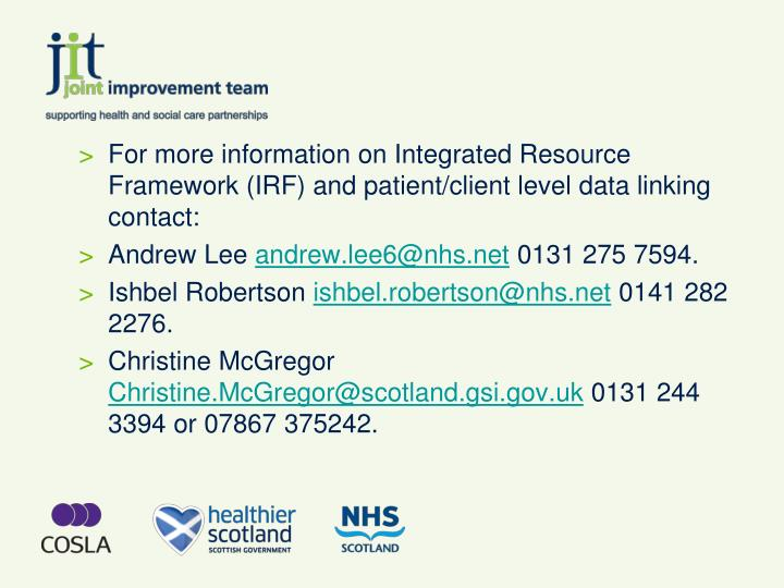 For more information on Integrated Resource Framework (