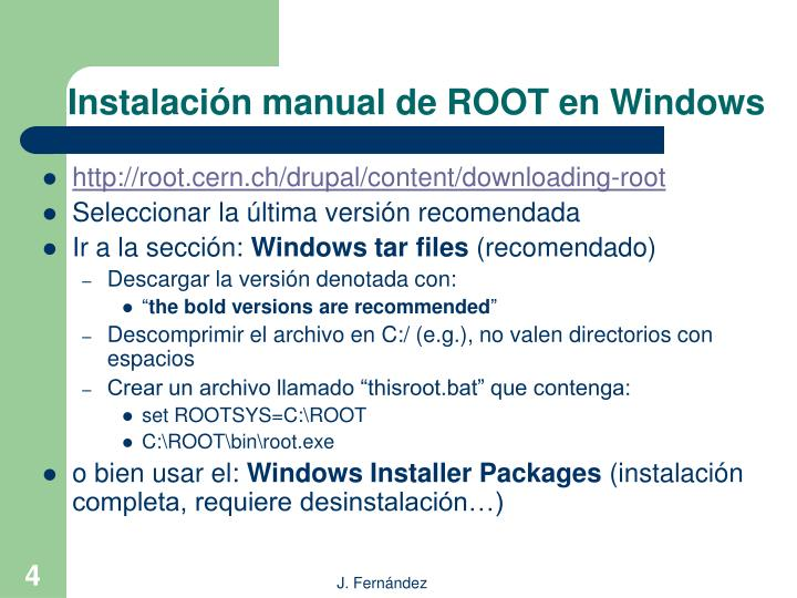 Instalación manual de ROOT en Windows