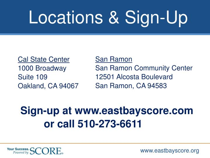 Locations & Sign-Up