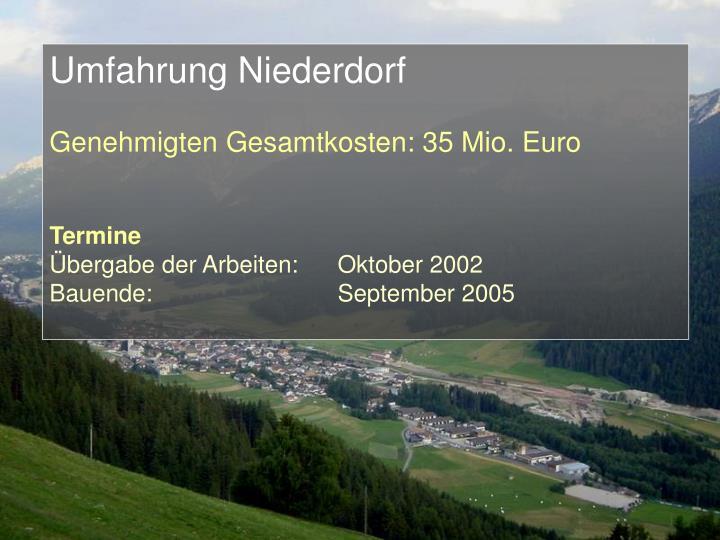 Umfahrung Niederdorf