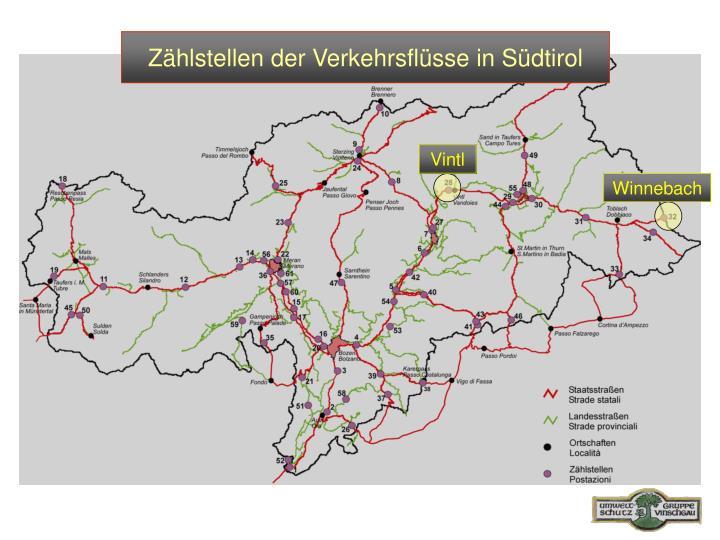 Zählstellen der Verkehrsflüsse in Südtirol