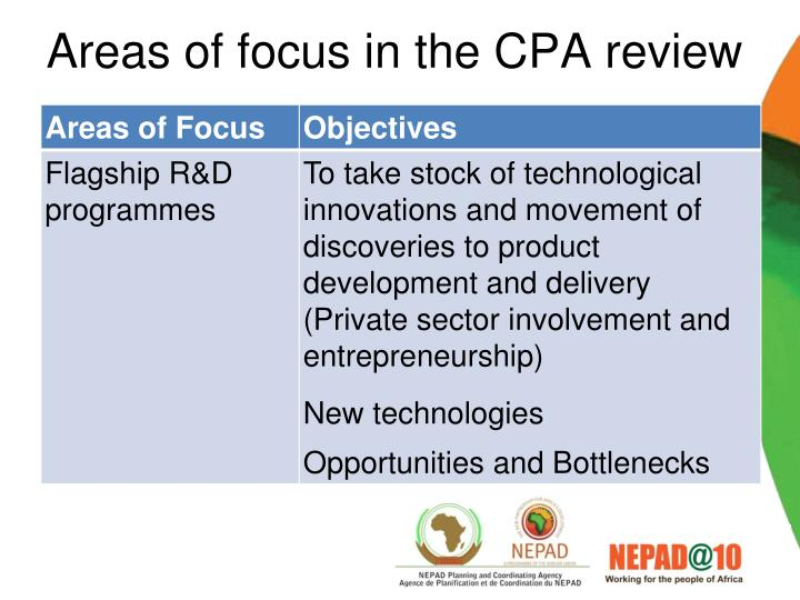 Areas of focus in the CPA review