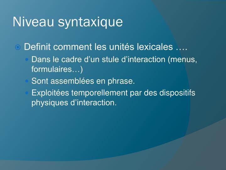 Niveau syntaxique