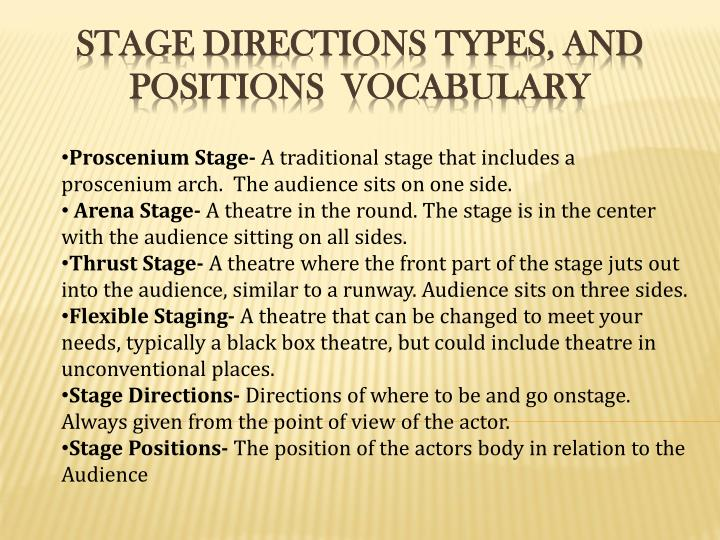 Stage directions types and positions vocabulary