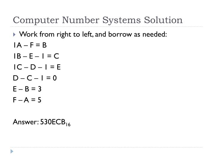 Computer Number Systems Solution