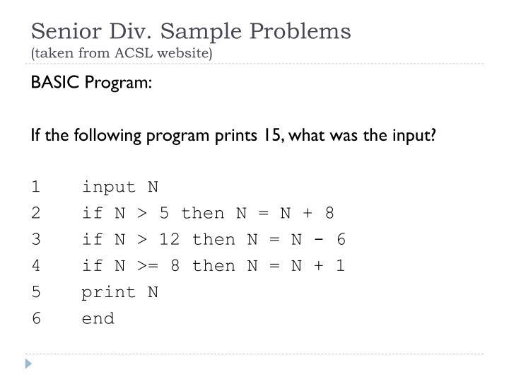 Senior Div. Sample Problems