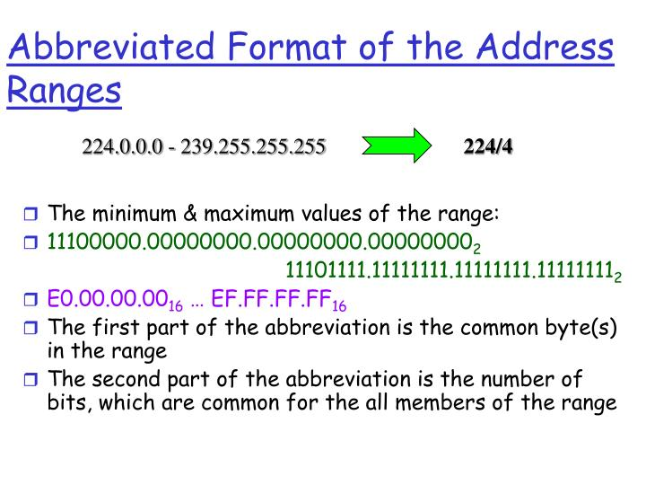 Abbreviated Format of the Address Ranges