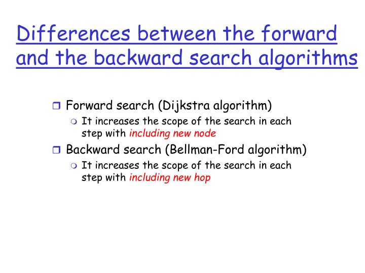 Differences between the forward and the backward search algorithms