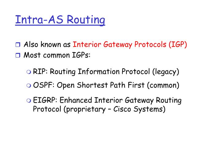 Intra-AS Routing