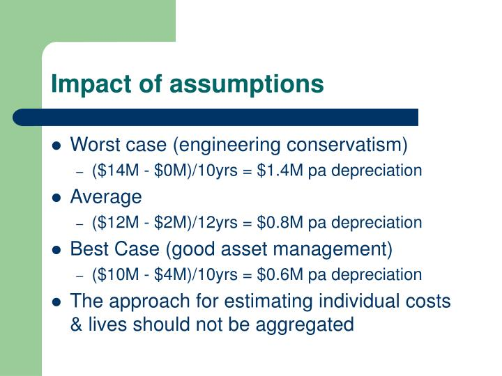 Impact of assumptions
