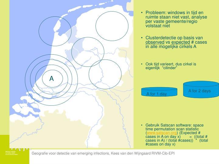 Probleem: windows in tijd en ruimte staan niet vast, analyse per vaste gemeente/regio volstaat niet