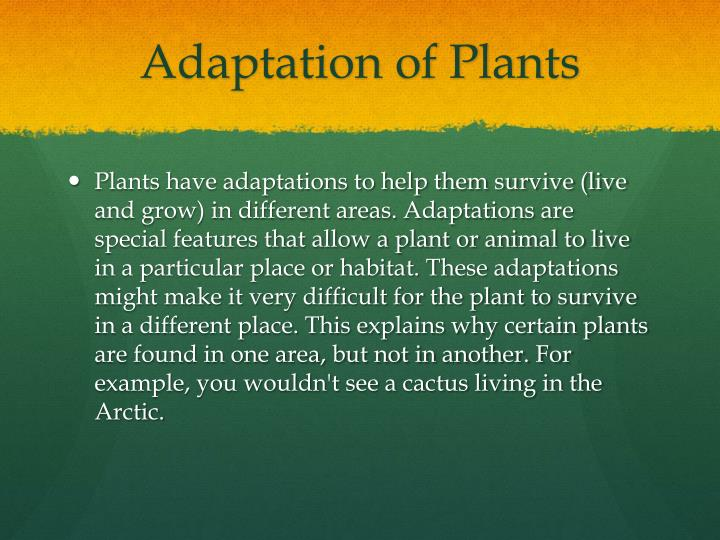 Adaptation of plants