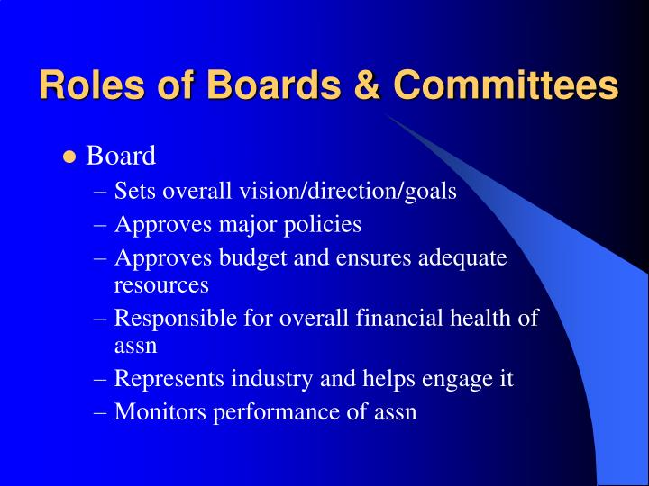 Roles of Boards & Committees