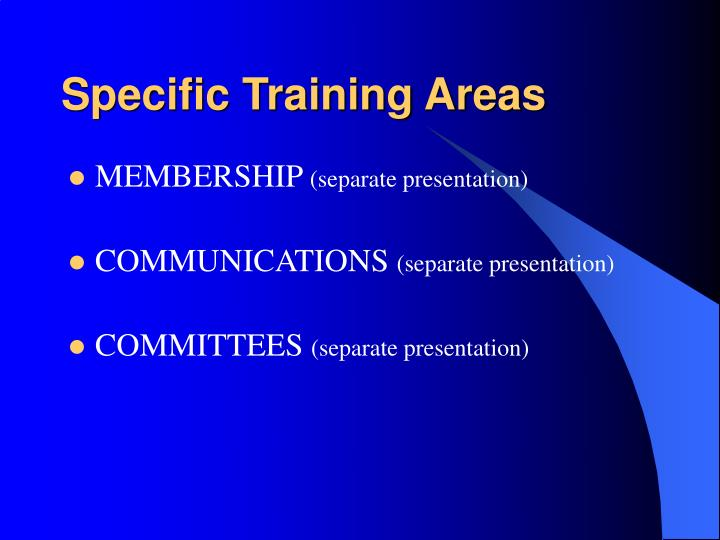 Specific Training Areas