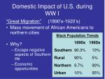 domestic impact of u s during ww i1