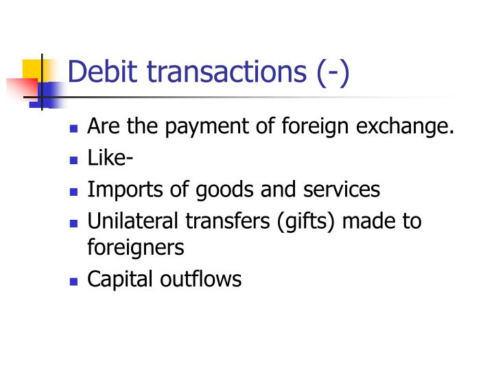 Debit transactions (-)