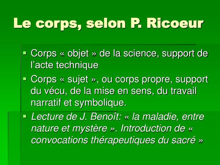 Le corps, selon P. Ricoeur