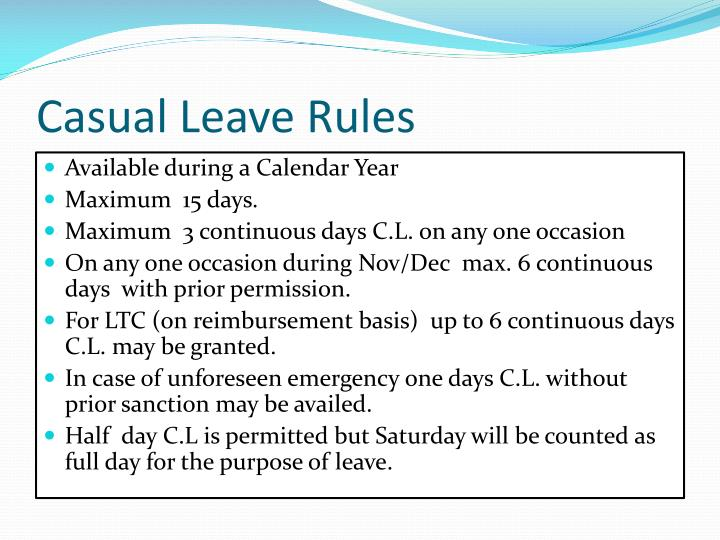 Casual Leave Rules