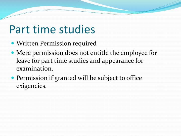 Part time studies