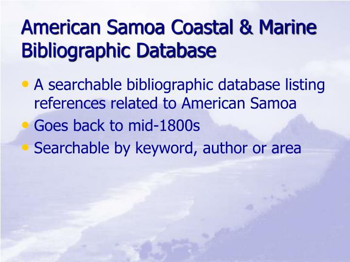 American Samoa Coastal & Marine Bibliographic Database